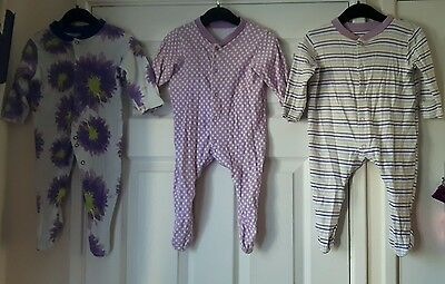 baby girl 3-6 months Marks & Spencer (M&S)sleepsuits purple bundle