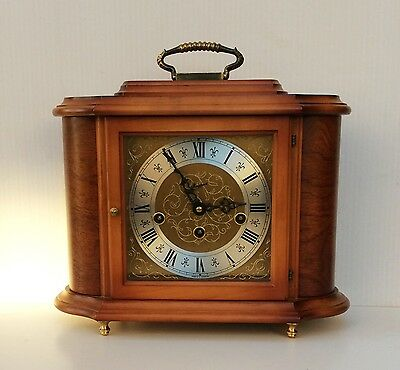 A Rapport Walnut Westminster Chime Mantle Clock Made By Hermle Supurb