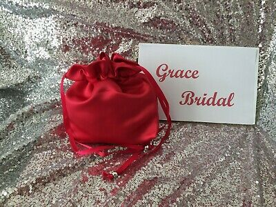 RUBY RED  SATIN DOLLY BAG BRIDAL BRIDESMAID FLOWER GIRL BNIP **free samples**