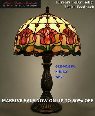 Tiffany Style Stained Glass Leadlight Red Lily Lounge Table Lamp Night Light