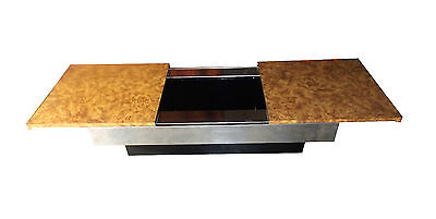 Willy Rizzo burl chrome black lacquered bar Table  Design 1970