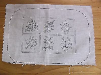 Unworked Semco  Linen Doily To Embroider. Floral Design