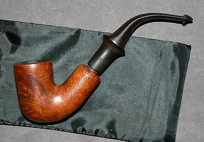"""Peterson's """"Dunmore"""" Vintage Briar Tobacco Pipe & Pouch. Used. Good Condition."""