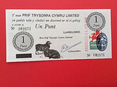 WELSH 1 PUNT BANKNOTE No.102871 Dated 1969