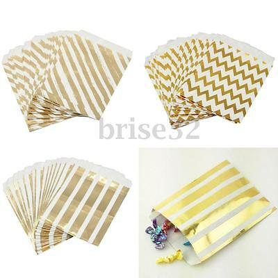 25pcs Foil Gold Striped Wave Wedding Birthday Sweet Favour Gift Paper Party Bags