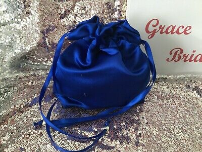ROYAL BLUE SATIN DOLLY BAG BRIDAL BRIDESMAID FLOWER GIRL BNIP **free samples**
