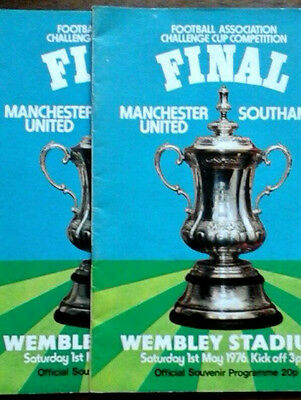 Man Utd V Southampton 1/5/1976 Fa Cup Final X2 Programmes  * Different Lineups *
