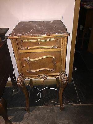 Antique French Bed Side Tall Cabinet With Marble Top