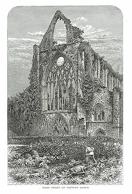 Tintern Abbey (West Front) Monmouthshire, Wales - Line Engraving - c1860