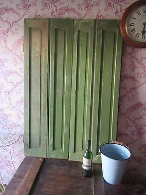 VINTAGE WOODEN FRENCH  WINDOW SHUTTERS Bi Folding PAIR FREE POST PAIR ORIGINAL