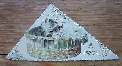 Pretty Antique Cats In A Basket Christmas Card