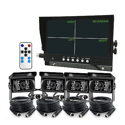 """9"""" Quad Monitor+4x 4Pin Rear Front Side View CCD Camera+4x 33Ft Cabe Truck Van"""