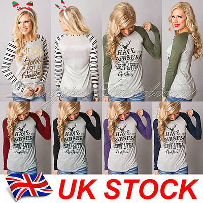 Womens Xmas Casual T Shirt Pullover Christmas Reindeer Long Sleeve Tops Blouse