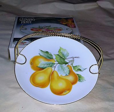 New in Box Serving Plate with Metal Handle as shown