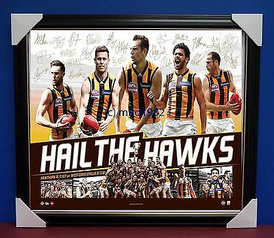 Hawthorn Signed OFFICIAL AFL 2015 PREMIERS THREE PEAT AFL Print Framed RRP $195