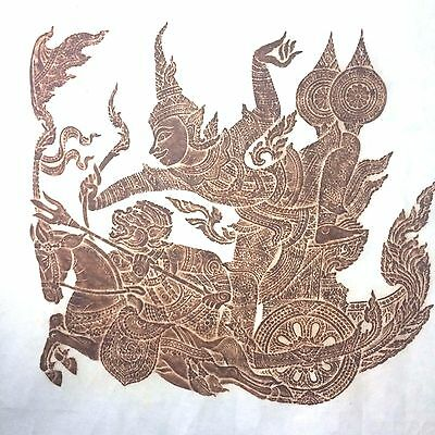 ANTIQUE Thai Wall Wat Pho Temple Stone Rubbing Asian Art Brown Hanging Ramayana