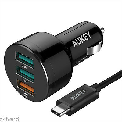 Quick Charge 3.0 AUKEY USB 3 ports Car Charger with C cable. Qualcomm Certify