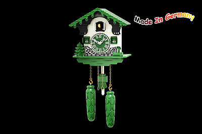 Quartz Cuckoo Clock, Green Modern Style (Design), Made in Germany, Black Forest