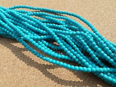 50 x Turquoise Beads - Round - 4mm