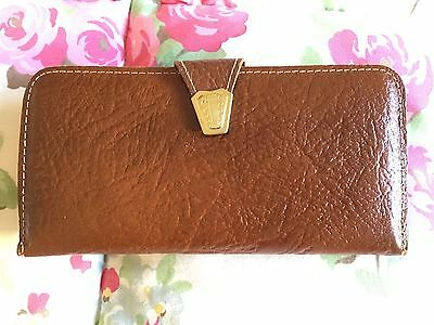 Vintage Tan Brown Real Leather Purse A-Frame Clip Clasp Made England