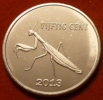 Sint Eustatius Island 50 cents 2013 UNC Praying Mantis Insect Bug unusual coin