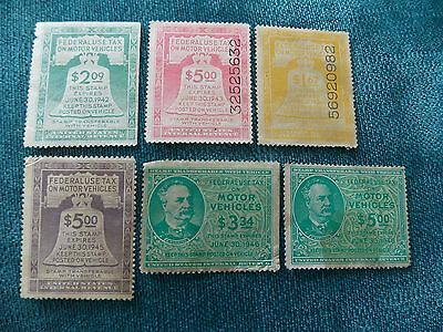 Lot of 6 US Internal Revenue Stamp Federal Use Tax On Motor Vehicles 1942-46