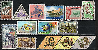 World wide selection of 14 MLH stamps: Animals, Birds, Fish, Snakes