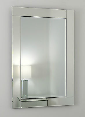 """Clarissa Silver Glass Framed Rectangle Bevelled Wall Mirror 40"""" x 28"""" V Large"""