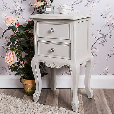 Grey Furniture Bedside Table Shabby Chic French Bedroom Lamp Home Antique Carved