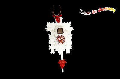 Quartz Cuckoo Clock, with Red Deer Head, White, Made in Germany, Black Forest