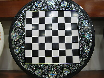 """24"""" Marble Chess Design Table Top Semi Precious Stone Inlaid Indoor Game"""