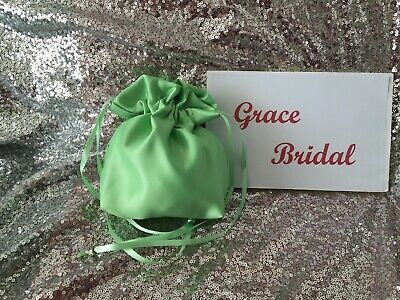 APPLE GREEN SATIN DOLLY BAG BRIDESMAID PROM FLOWER GIRL BNIP **free samples**