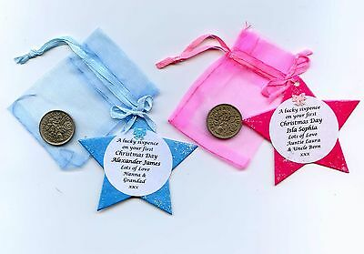 Personalised Lucky Sixpence for Baby's 1st Christmas. First Keepsake, Gift