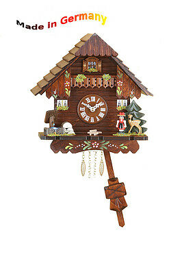 Black Forest Cuckoo Quartz Pendulum Clock, Cuckoo, Handpainted, Made in Germany