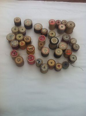 37 Vintage Wooden Bobbins Cotton Reels Coats Plus others Many Intact Labels