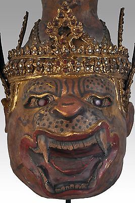 old ritual Thai khon mask - Hermit with tiger head - Ruesi Pusaming