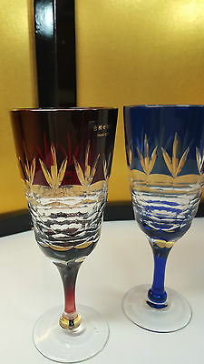 Beautiful Japanese Kiriko Set 2 wine cup/sake hand cut -  Vintage