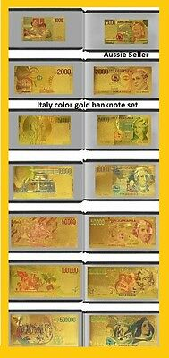 BANKNOTES Italy 24 KT Color GOLD 7 NOTE Italian plus certificate of authenticity
