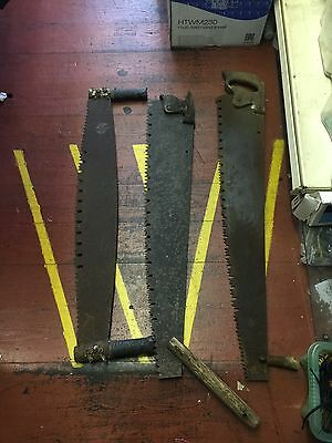 3 x large Vintage hand saws OLD TOOLS