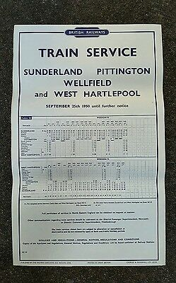 1950 British Rail original Timetable Poster Pittington wellfield West Hartlepool