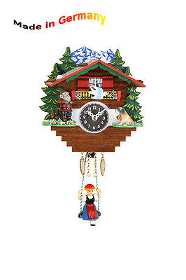 Miniature Rocking Clock, Made in Germany, Black Forest, Gift Idea