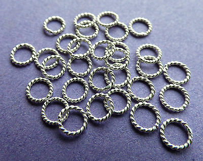 5mm 21 gauge 0.81mm 925 Sterling Silver Twisted closed Jump Rings Bail 10pcs.