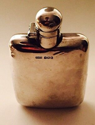 Solid Silver Hip Flask Hallmarked 1921 By J.D&S