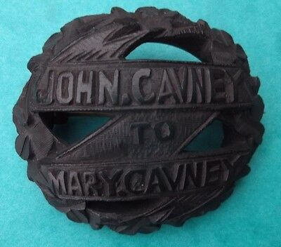 VICTORIAN SWEETHEART IRISH BOG OAK PIN BROOCH JOHN CAVNEY to MARY CAVNEY