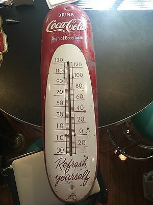 Authentic Coca Cola 1950 Cigar Thermometer - Vintage  Sign Of Good Taste