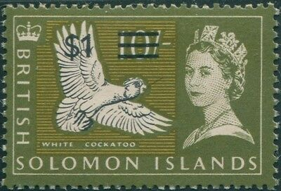 Solomon Islands 1966 SG151 $1 on 10/- Ducorp's Cockatoo toned back MLH