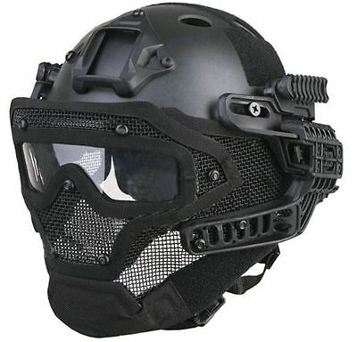 Airsoft G4 Helmet Bump Goggles Full Face Mesh Mask Black Swat Abs Ussf Ops Core