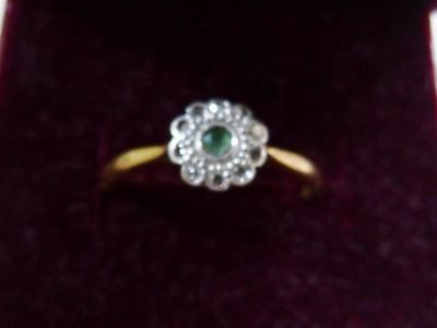 18ct Gold antique  Emerald & Diamond  Daisy Cluster ring size O/P (ENGAGEMENT?)