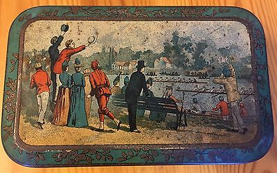 Carrs Boat Race Biscuit Tin c1890 Rare