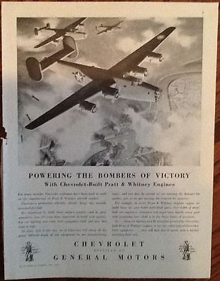 Chevrolet Whitney bomber planes ad 1943 original vintage art 40s print WWII war